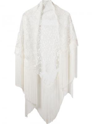 Кружевная шаль с бахромой Martha Medeiros. Цвет: белый
