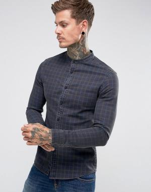 ASOS Приталенная джинсовая рубашка в клетку с воротником на пуговице. Цвет: темно-синий