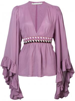 Блуза с оборками на рукавах Amen. Цвет: розовый и фиолетовый