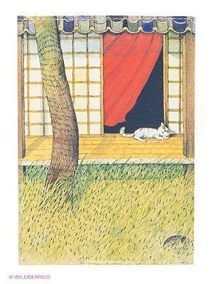 Обложка для паспорта Белый кот на окне Mitya Veselkov. Цвет: зеленый, красный, желтый