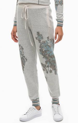 Серые шерстяные брюки с цветочным принтом Stefanel. Цвет: цветочный принт