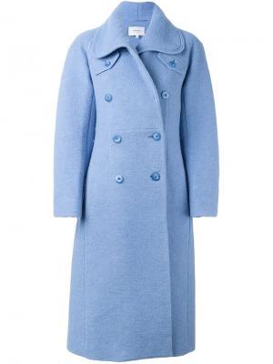 Двубортное пальто Carven. Цвет: синий