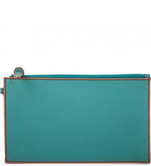 Клатч на молнии со съемной петлей запястье Mandarina Duck. Цвет: бирюзовый