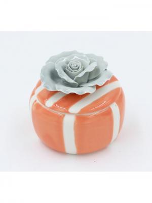 Шкатулка декоративная оранжевая с серой розой из фарфора для украшений, 6.5х6х6см. Magic Home. Цвет: оранжевый