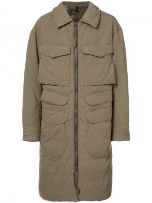 Пальто с накладными карманами Ziggy Chen. Цвет: телесный