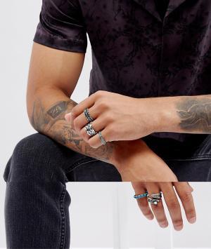 ASOS Набор массивных серебристых колец с черным камнем. Цвет: серебряный