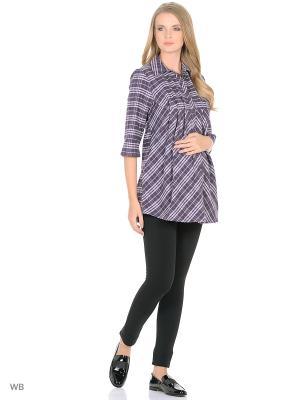 Рубашка для беременных и кормления 40 недель. Цвет: темно-фиолетовый