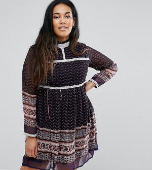 Diya Платье с принтом и кружевной отделкой. Цвет: синий