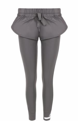 Спортивные леггинсы с шортами и перфорированными лампасами Adidas by Stella McCartney. Цвет: серый