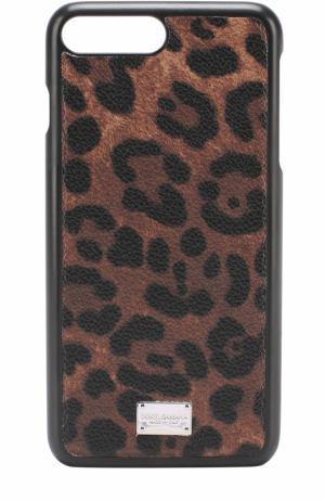 Кожаный чехол для iPhone 7 Plus с принтом Dolce & Gabbana. Цвет: леопардовый