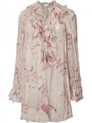 Блузка с цветочным принтом Zimmermann. Цвет: розовый и фиолетовый