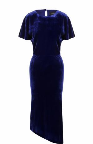 Приталенное бархатное платье асимметричного кроя St. John. Цвет: синий