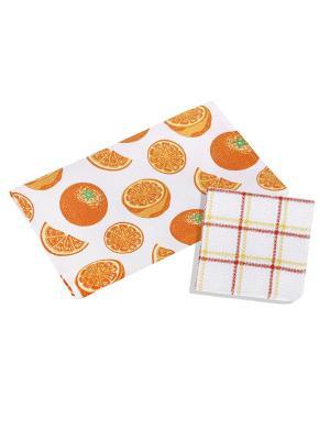Набор для кухни: полотенце,салфетка Dream time. Цвет: белый, оранжевый