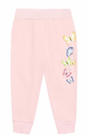 Хлопковые джоггеры с вышивками и аппликациями Monnalisa. Цвет: розовый