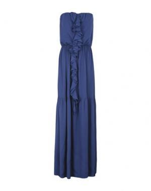 Длинное платье GOLD CASE. Цвет: темно-синий