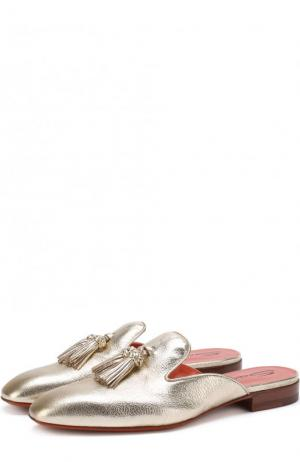 Сабо из металлизированной кожи с кисточками Santoni. Цвет: золотой