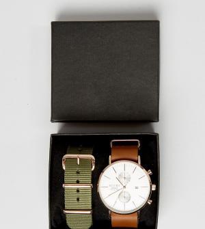 Reclaimed Vintage Часы с хронографом и сменными ремешками (коричневый, зеленый) Reclaime. Цвет: коричневый
