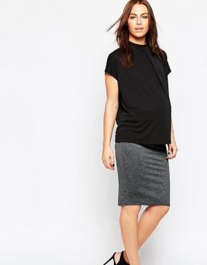 ASOS Maternity Меланжевая юбка‑карандаш миди для беременных. Цвет: серый
