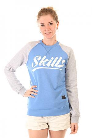 Толстовка свитшот женская  Script Logo 4 Crewneck Blue/Grey Melange Skills. Цвет: серый,синий