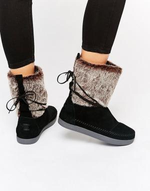 Toms Черные замшевые ботинки с искусственным мехом. Цвет: черный