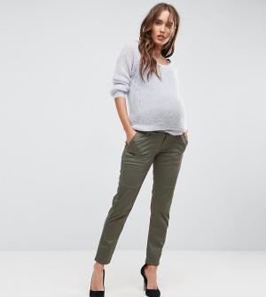Bandia Брюки-карго со съемной вставкой для живота Maternity. Цвет: зеленый