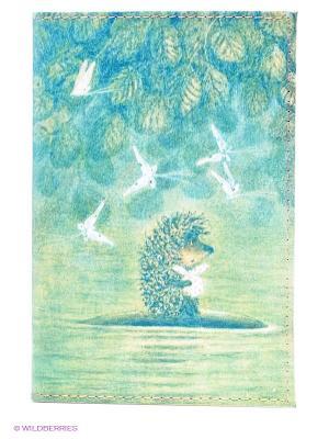 Обложка для автодокументов Ёжик плывёт Mitya Veselkov. Цвет: зеленый