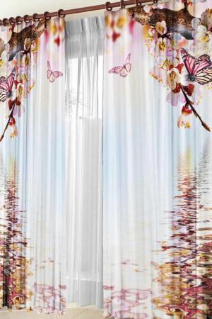 Комплект штор Злата Корунка. Цвет: белый