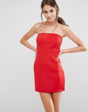 Pixie & Diamond Облегающее платье-бандо. Цвет: красный