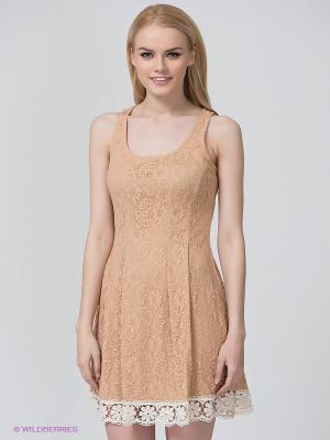 Платье BSB. Цвет: бежевый