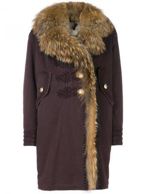 Пальто мешковатого кроя с меховой оторочкой Bazar Deluxe. Цвет: розовый и фиолетовый