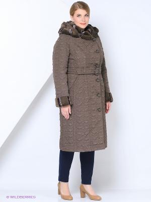 Пальто Brillare. Цвет: коричневый