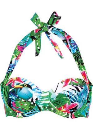Бюстгальтер для купального костюма, чашка B (зеленый с рисунком) bonprix. Цвет: зеленый с рисунком