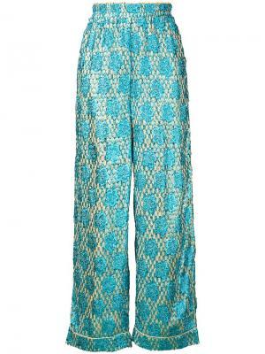 Жаккардовые брюки Emiko с эффектом металлик Ganni. Цвет: синий