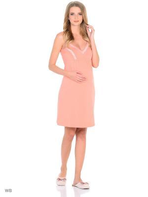 Ночная сорочка для беременных и кормящих FEST. Цвет: персиковый