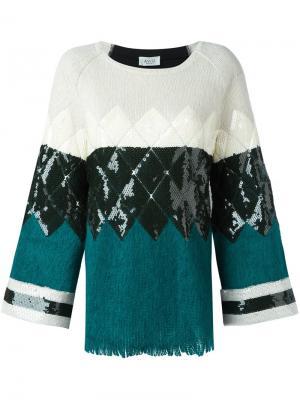 Вязаная блузка с узором Aviù. Цвет: белый