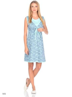 Сорочка женская для беременных и крмящих Hunny Mammy. Цвет: бирюзовый, серый