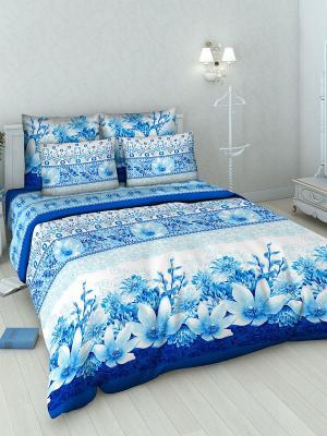 Комплект постельного белья Василиса. Цвет: белый, синий, голубой