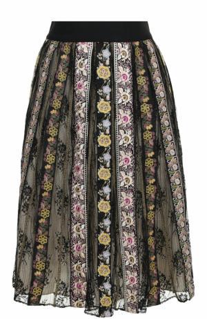 Хлопковая юбка-миди с вышивкой Alice + Olivia. Цвет: разноцветный