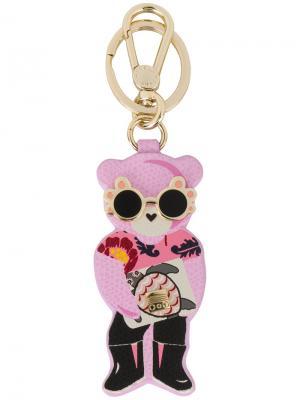 Брелок для ключей в виде медведя Furla. Цвет: розовый и фиолетовый