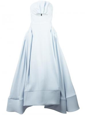 Расклешенное вечернее платье с вырезной деталью Maticevski. Цвет: синий