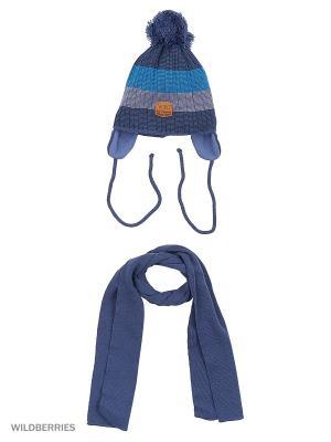 Шапка и шарф Agbo. Цвет: темно-синий