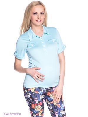 Футболка-поло для беременных 40 недель. Цвет: светло-голубой