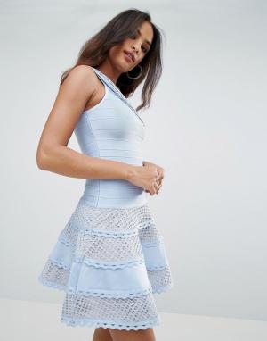 Forever Unique Короткое приталенное платье из бандажной ткани на одно плечо U. Цвет: синий