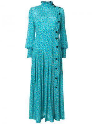 Платье макси с цветочным принтом Alessandra Rich. Цвет: синий