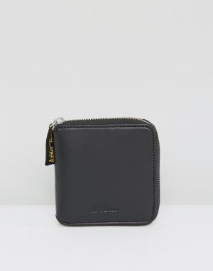 Dr Martens Кожаный кошелек на молнии. Цвет: черный