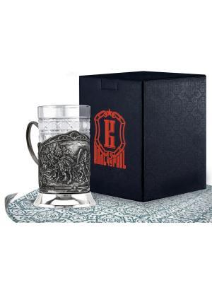 Набор для чая никелированный с чернью Тройка (подстаканник + стакан футляр) Кольчугинъ. Цвет: серебристый
