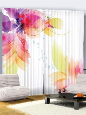 Комплект фотоштор Фиолетовые, розовые и оранжевые листья лепестки на белом фоне, 290*265 см Magic Lady. Цвет: белый, фиолетовый, оранжевый, розовый, желтый