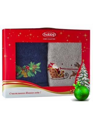 Махровое полотенце в коробке 50х90*2 Новый год, V10 HOBBY HOME COLLECTION. Цвет: синий, светло-серый