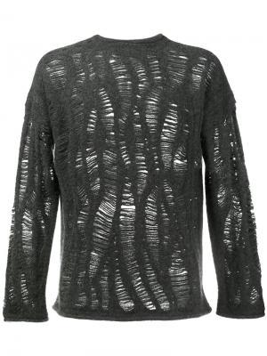 Рваный свитер из кашемирового микса By Walid. Цвет: серый