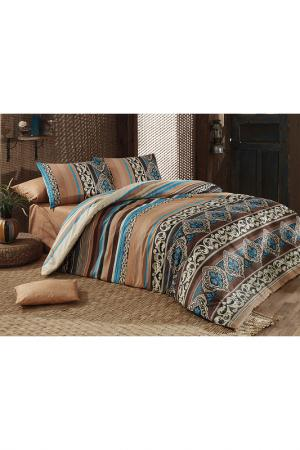 Комплект постельного белья Majoli Bahar Home Collection. Цвет: brown, cream, blue